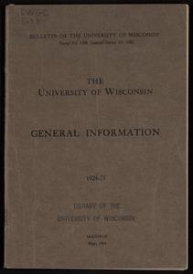The University of Wisconsin general information 1924-25