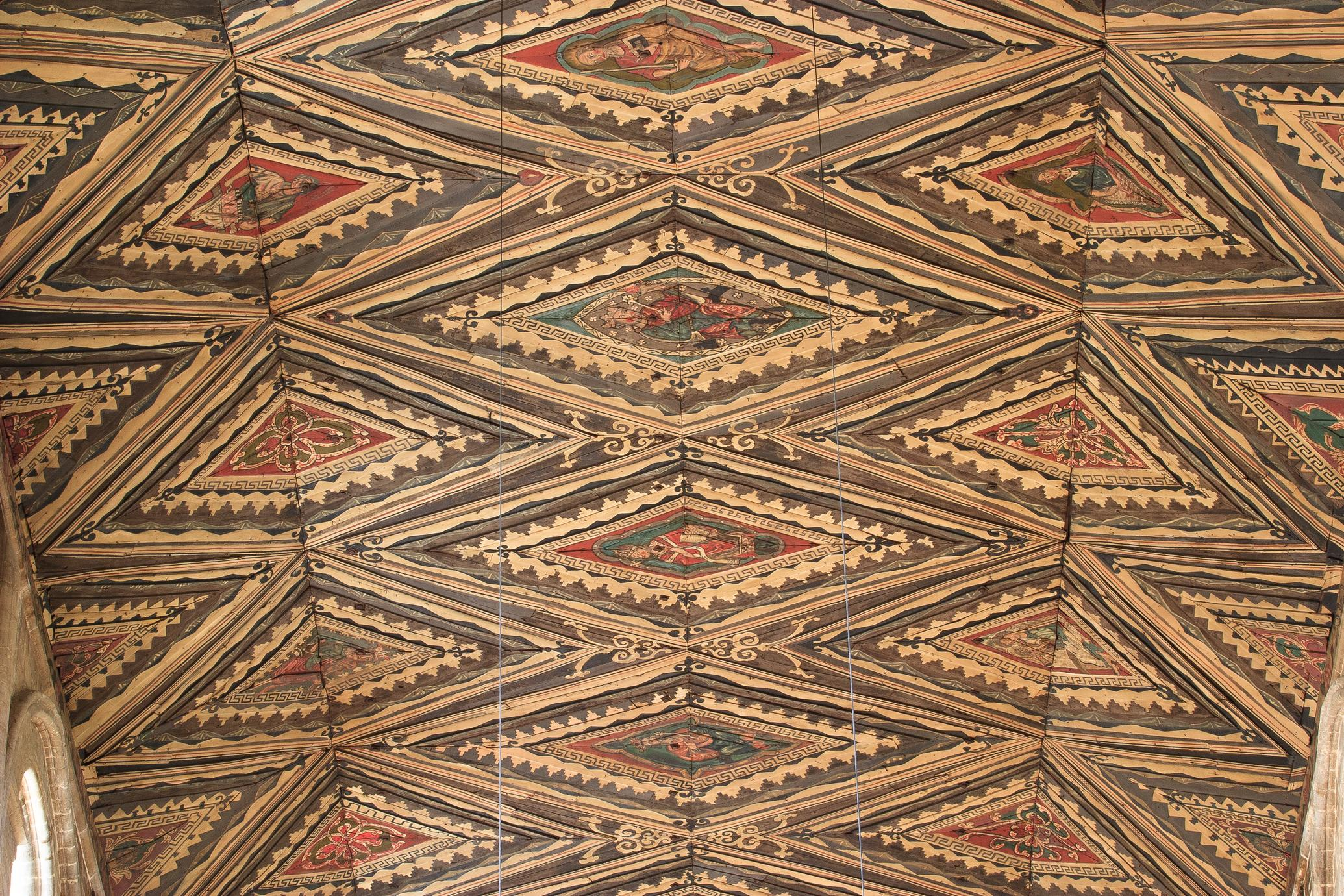 Peterborough Cathedral nave ceiling closeup