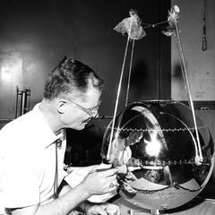 Professor Secretan with radiation balance satellite