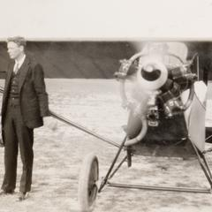 Lindbergh and plane at Pennco Field, Madison