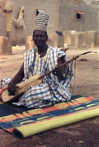 Fotigi Diabate with His Ngoni at Family Compound