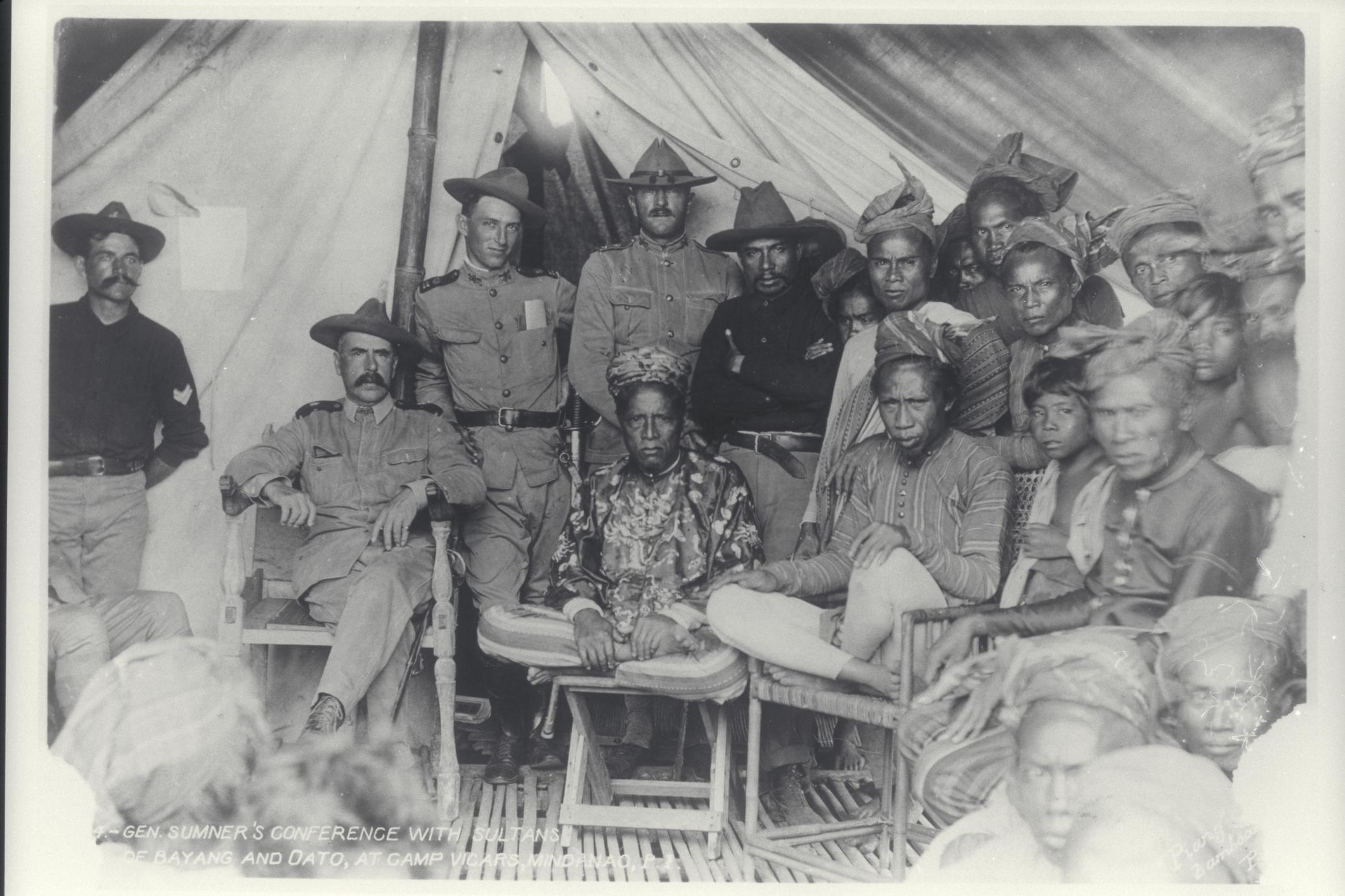 Conference between General Sumner and the Sultans of Bayang and Dato, Mindanao, 1899-1902