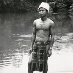 Nyaheun man wears traditional Nyaheun loincloth in Attapu Province
