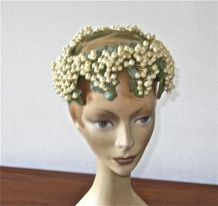 Pillbox hat with faux pearls