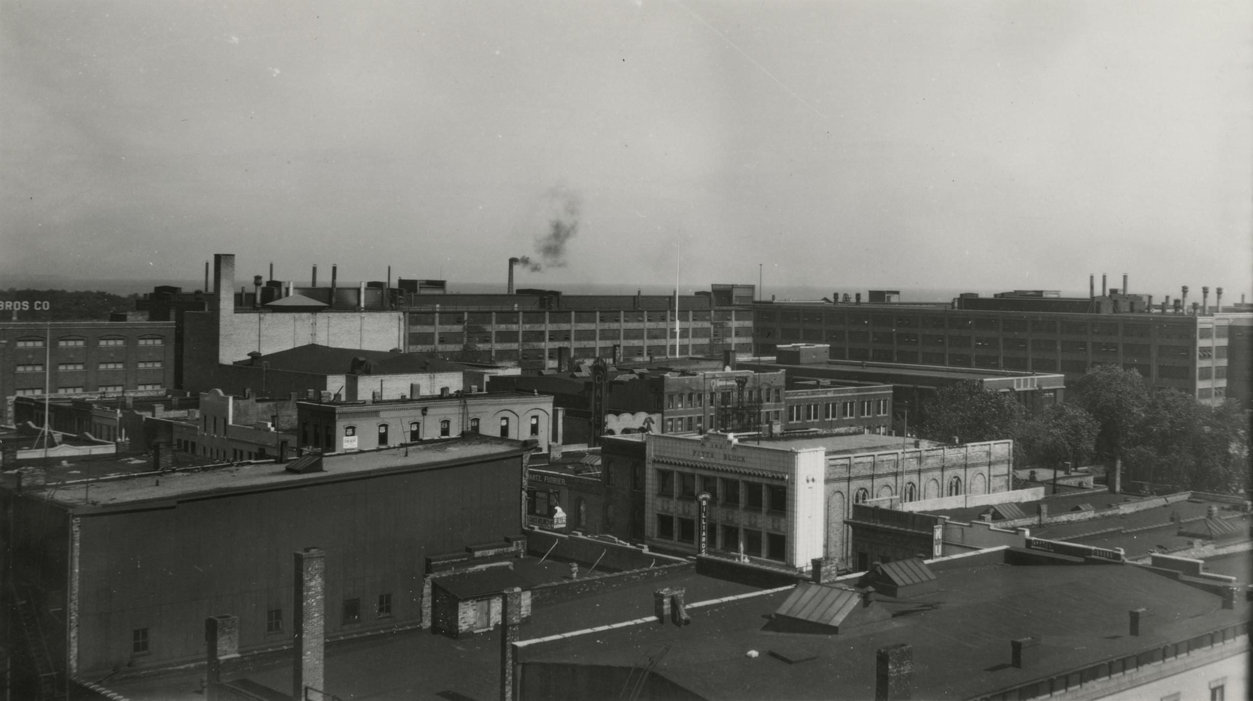 View of Simmons plant from downtown Kenosha