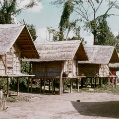 Four rice storage houses in the village of Phou Luang Nyai in Houa Khong Province