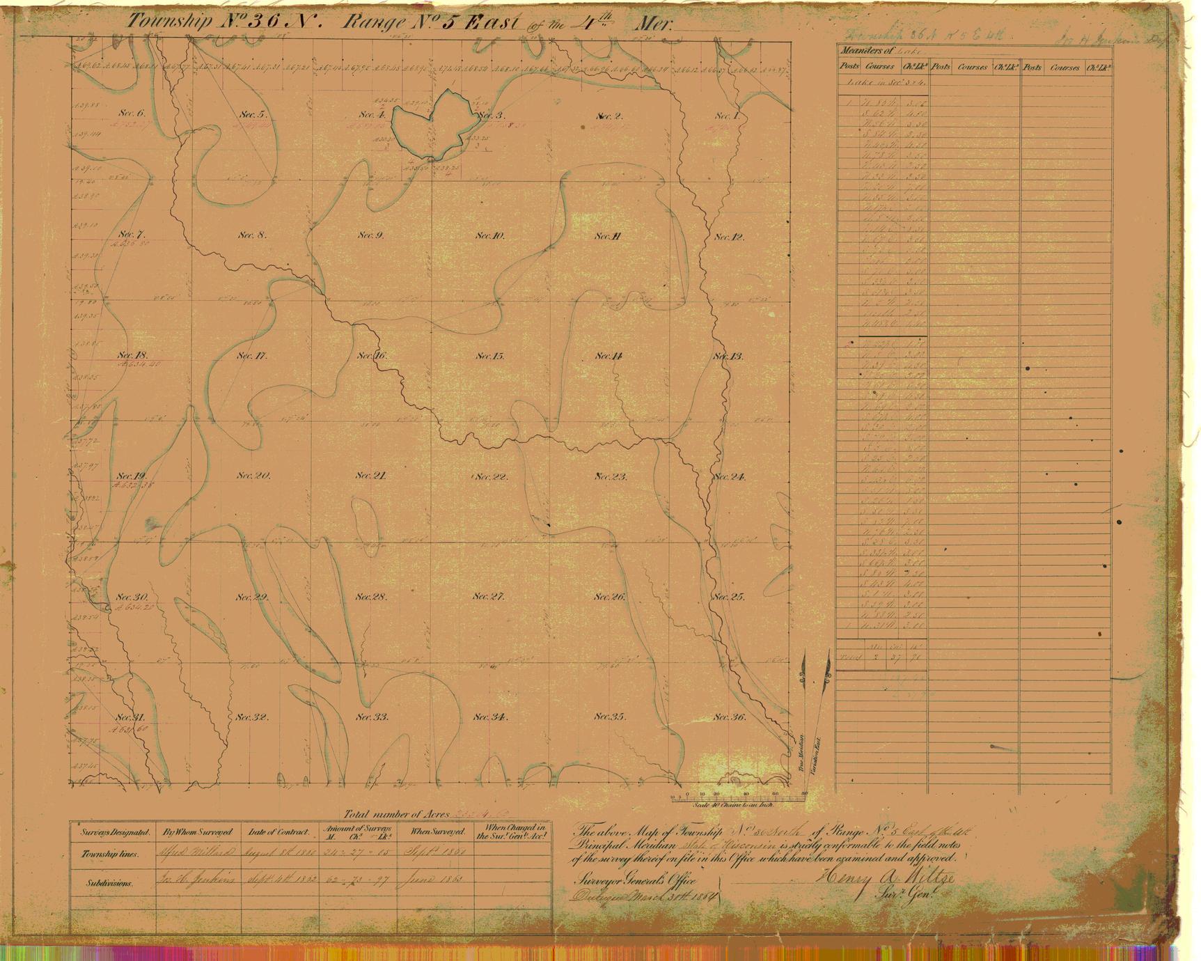 [Public Land Survey System map: Wisconsin Township 36 North, Range 05 East]