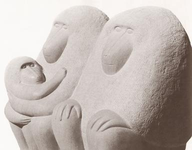 Limestone Baboon Family Sculpture