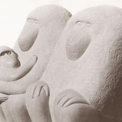 Limestone Baboon Family Sculpture
