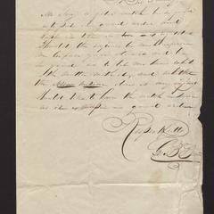 Letter from George B. Brown to Major Felix Dominy, 1834