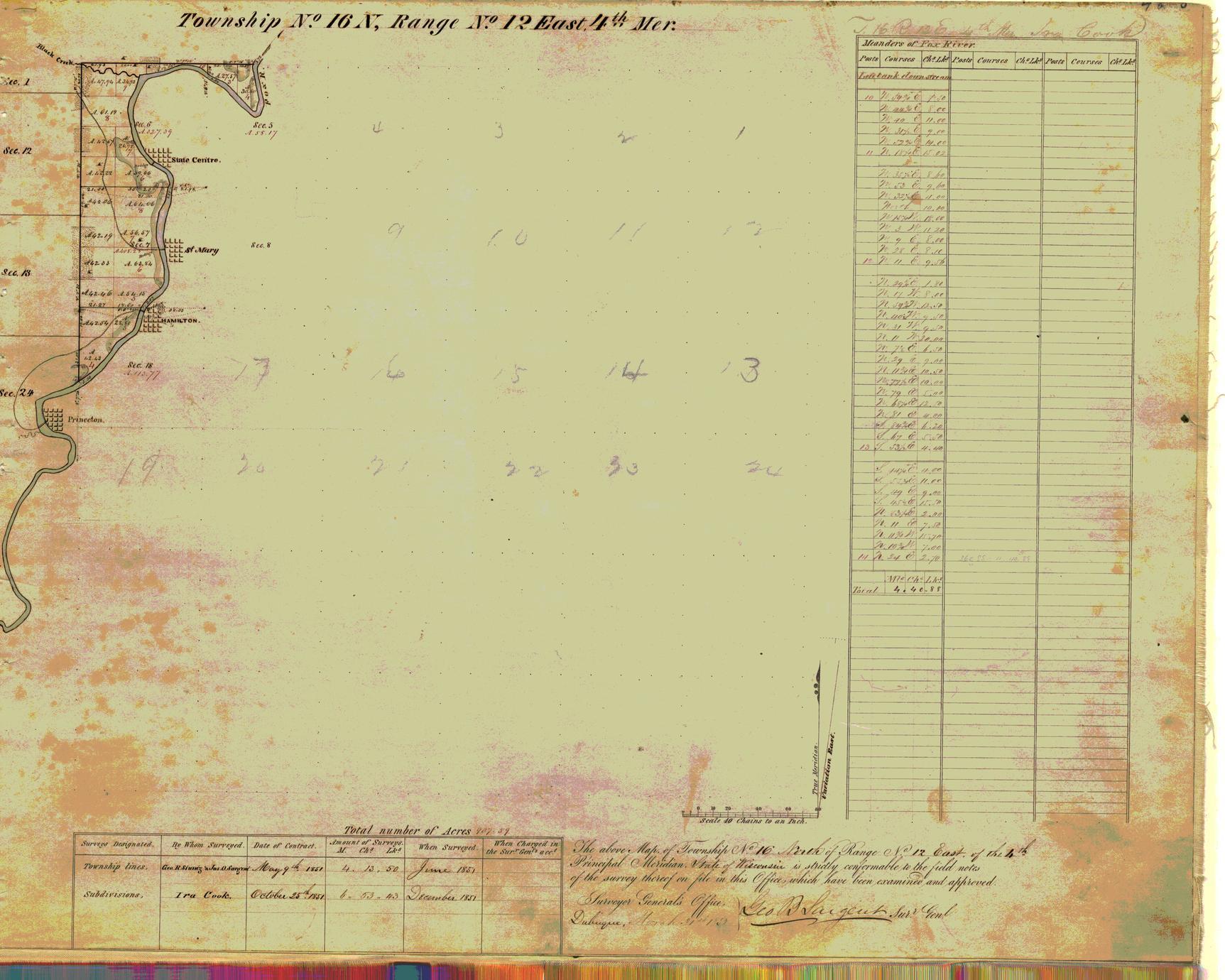 [Public Land Survey System map: Wisconsin Township 16 North, Range 12 East]