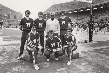 UW male cheerleaders at Homecoming 1986