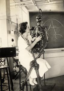Woman with skeleton