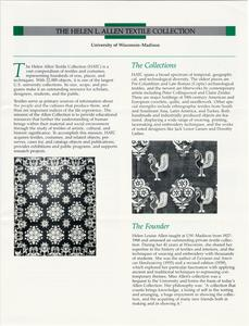 First mailed brochure for the Helen Louise Allen Textile Collection