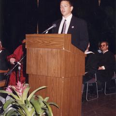 Scott Henke speaking at commencement