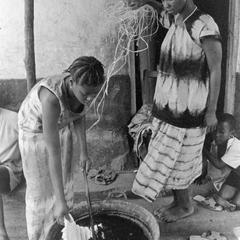 Putting Tied Cloth into the Dye