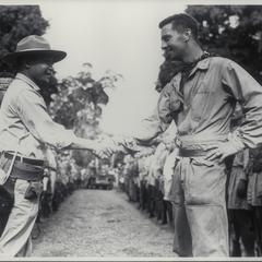 Lieutenant Pondle greeted by Lieutenant Jumah, Jolo, 1945