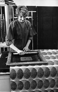 Patricia Mansfield working on a batik