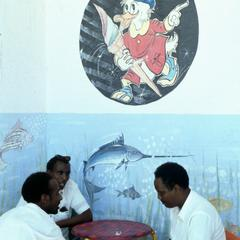 Cafe Scene with Donald Duck Cartoon