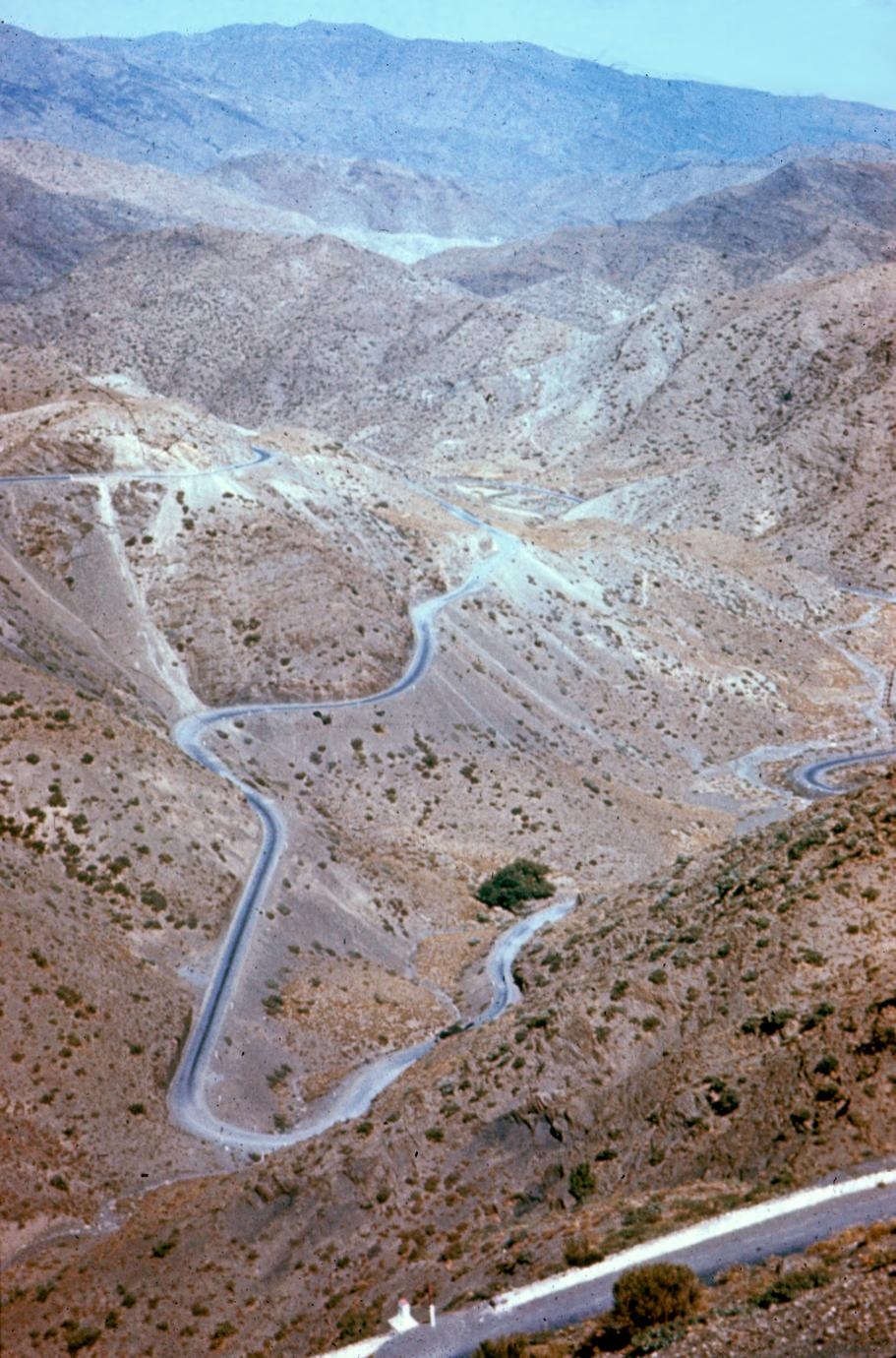 Road in the High Atlas Mountains between Telouet and Marrakech