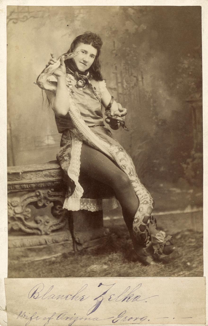 Blanche Zelka, snake charmer (1 of 2)
