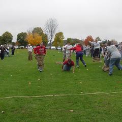 Thrilling sack race