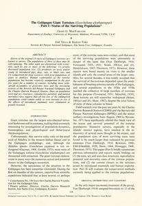 The Galápagos giant tortoises (Geochelone elephantopus) : part I : Status of the surviving populations