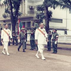 King of Laos with Pathet Lao honor guard