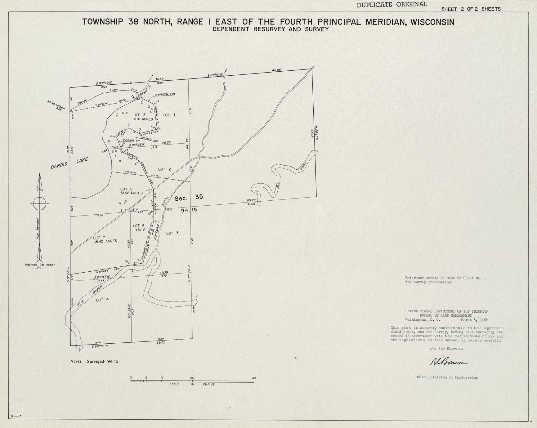 [Public Land Survey System map: Wisconsin Township 38 North, Range 01 East]
