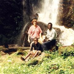 Trager and Folarin at waterfall in Ekiti