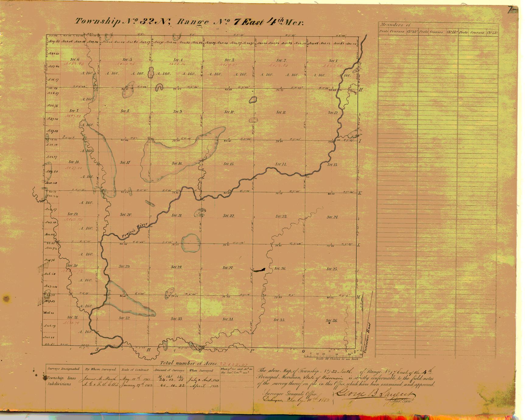 [Public Land Survey System map: Wisconsin Township 32 North, Range 07 East]