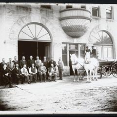 Volunteer firemen and team, central station, Gem Hose Company