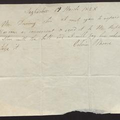 Order from Calvin Moore, Sag Harbor, to Capt. Felix Dominy, 1828, for watch repair