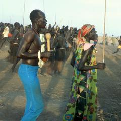 Woman and Man Dancing at a Nuer Wedding