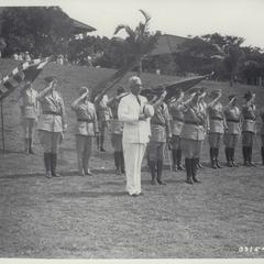 Paul McNutt reviews troops, Corregidor, 1937