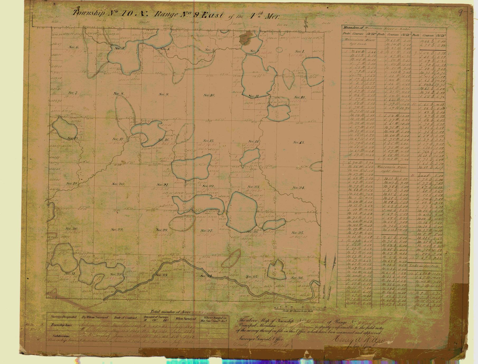 [Public Land Survey System map: Wisconsin Township 40 North, Range 09 East]