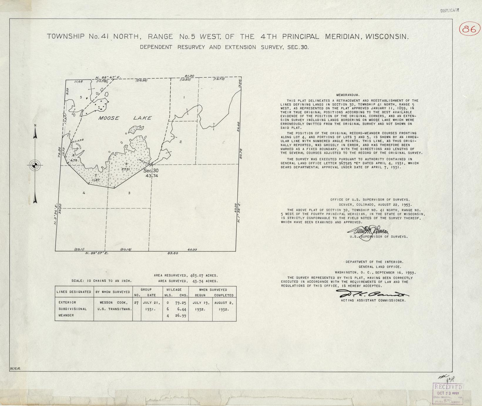[Public Land Survey System map: Wisconsin Township 41 North, Range 05 West]