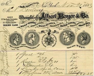 Bill from Albert Berger & Co. to Nathaniel Dominy VII, 1882