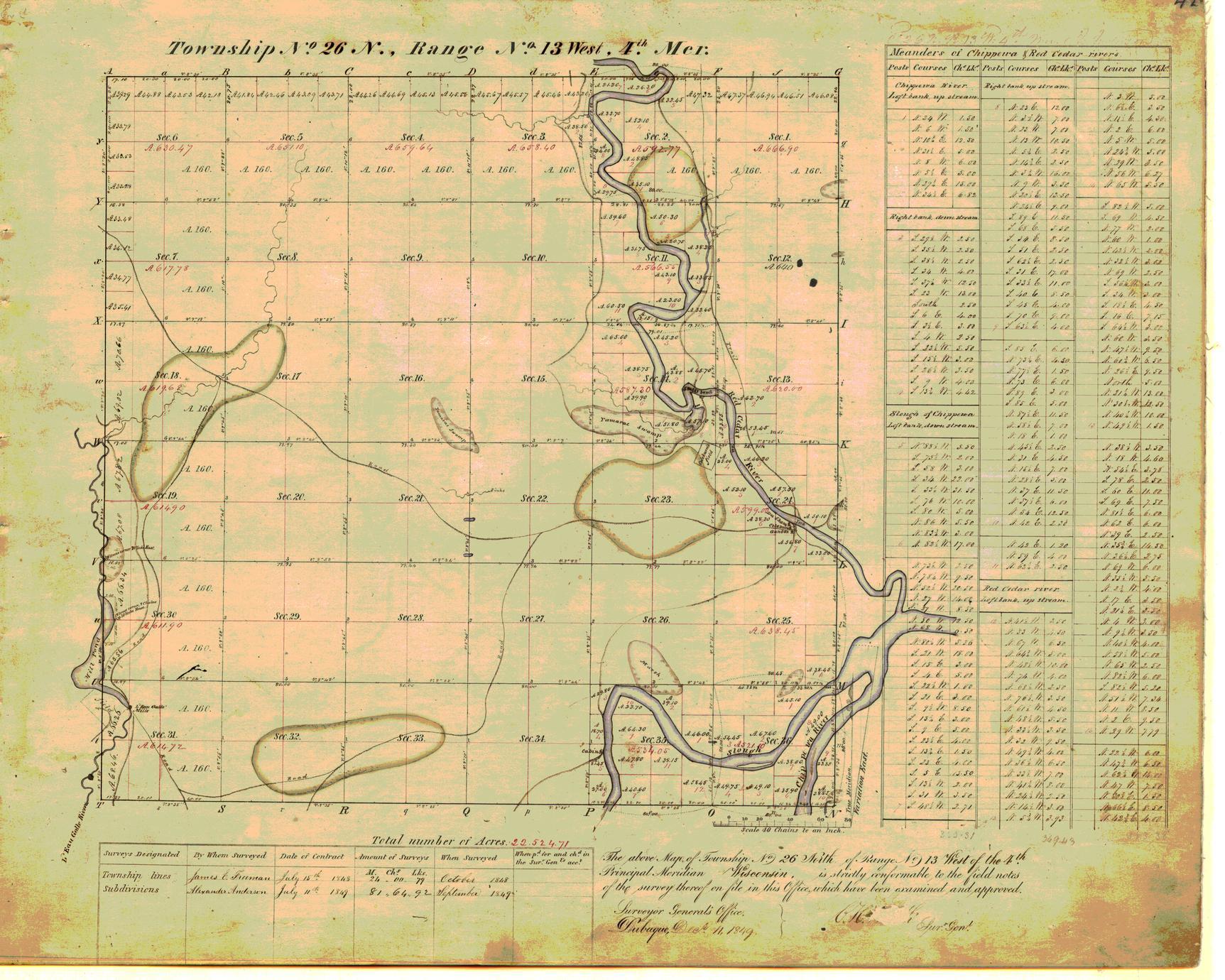 [Public Land Survey System map: Wisconsin Township 26 North, Range 13 West]