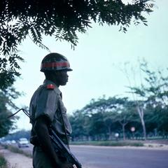 Zairian Soldier Guarding Motorcade Route