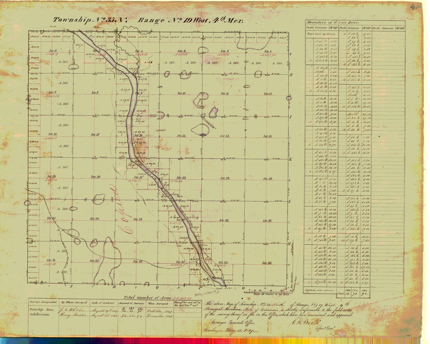 [Public Land Survey System map: Wisconsin Township 35 North, Range 19 West]