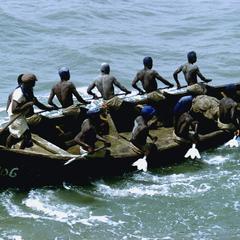 Men Paddling an Accra Surf Boat, Prior to Tema Harbor