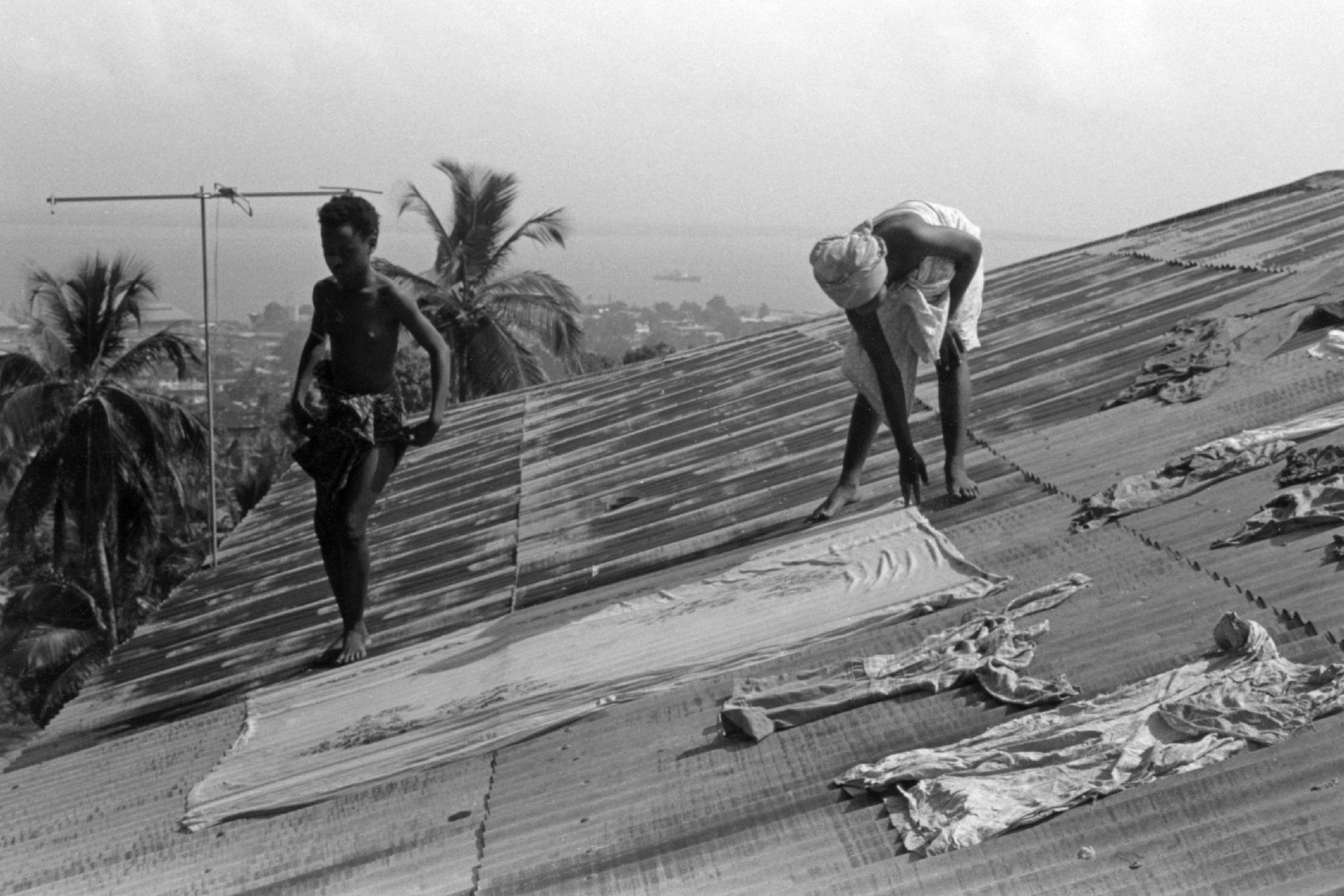 Drying Laundry on Rooftops in Residential Freetown