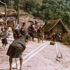 Akha women preparing to weave in the village of Sobloi in Houa Khong Province