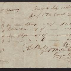 Bill from T. & B. Demilt, 1818