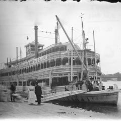 Bow side view of the G.W. Hill with passengers ready to board
