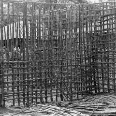 Lath Structure for wattle and Daub Construction of Community Clinic