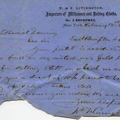 Letter from W. & F. Livingston to Nathaniel Dominy VII, 1877