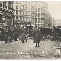 Berliner Straßenkämpfe März 1919. Barrikaden