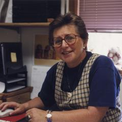 Outreach and continuing education coordinator Joan Laabs at her desk